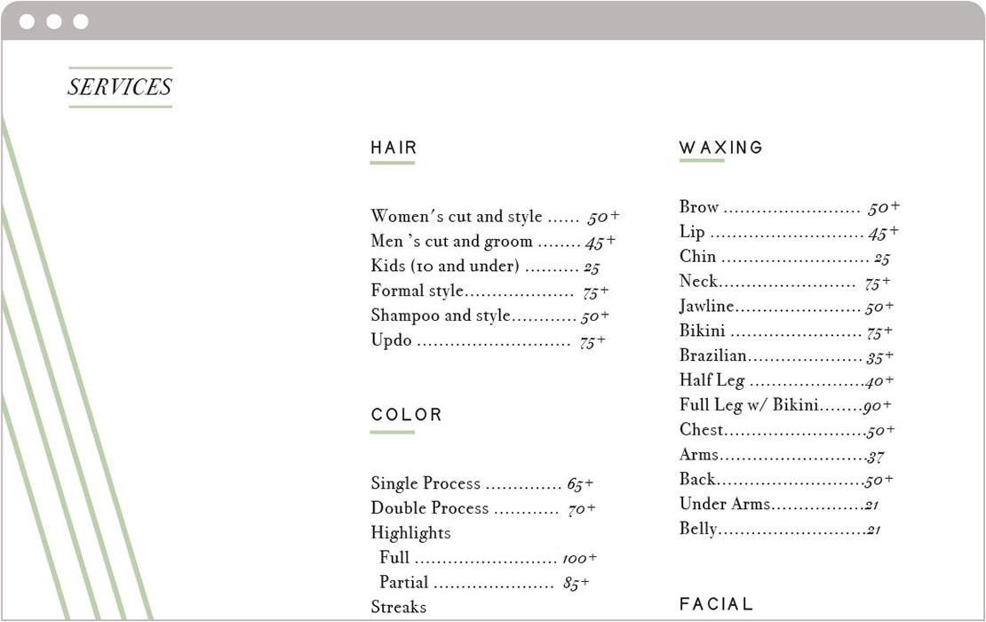 Hair Salon Web Development